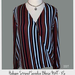 Halogen Striped Surplice Blouse NWT XS